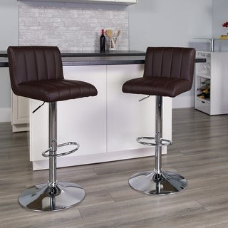 """Lancaster Home Contemporary Adjustable Height Barstool with Vertical Stitch Back/Seat - 16.5""""W x 19.5""""D x 33.75"""" - 42.25""""H"""