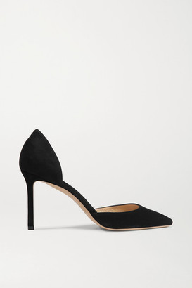 Jimmy Choo Esther 85 Suede Pumps - Black