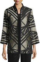 Caroline Rose Jacquard Jacket with Graphic Silk Trim