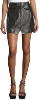 Rachel Zoe Danae Leather Button-Front Miniskirt