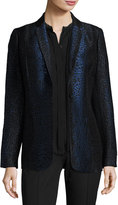 Elie Tahari Leopard-Print One-Button Blazer, Black/Blue