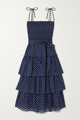 Tory Burch Belted Tiered Smocked Polka-dot Cotton Midi Dress - Black