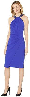 Alex Evenings Short Crepe Sheath Dress with Keyhole Cutout Beaded Halter Style Neckline (Royal) Women's Dress