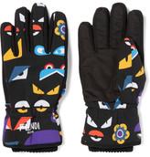 Fendi Printed Shell And Canvas Ski Gloves - Black
