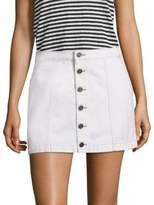 Joie Emeralda Button-Front Denim Mini Skirt