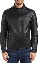 HUGO BOSS BOSS Green Jeron Leather Jacket, Black