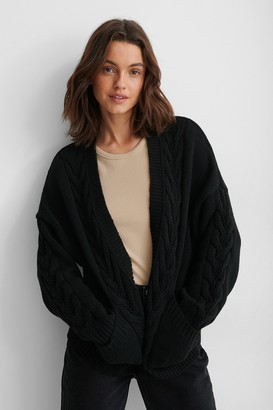 NA-KD Recycled Cable Knit Short Cardigan