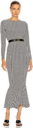 Norma Kamali Long Sleeve Crew Fishtail Dress in Large Check | FWRD