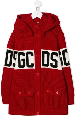 Gcds Kids Hooded Logo Cardigan