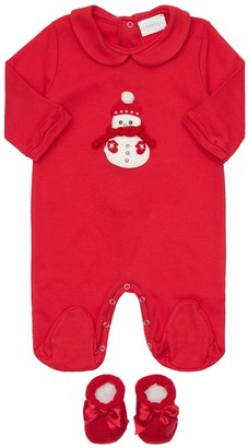 La Perla Snowman Interlock Romper & Socks Set