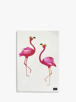 Sara Miller Flamingo Tea Towel, Pink/Multi