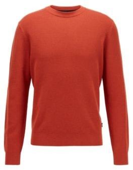 HUGO BOSS Crew-neck sweater in structured cotton and virgin wool