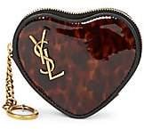Saint Laurent Women's Heart-Shaped Tortoise Leather Coin Purse