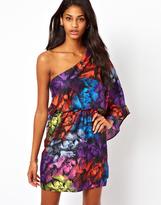 Asos One Shoulder Feather Print Dress