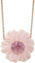 Irene Neuwirth Pink Tourmaline and Carved Pink Opal Flower Necklace - Rose Gold