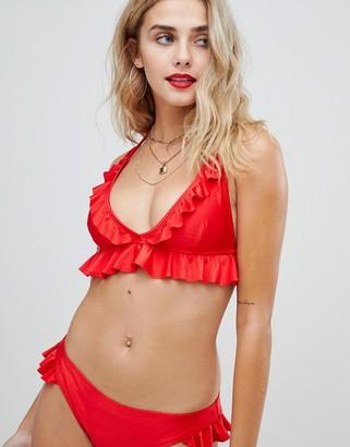 Asos Design DESIGN textured frill detail hipster bikini bottom