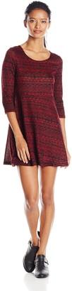 Angie Junior's Printed Sweater Skater Dress