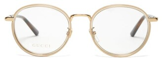 Gucci Web-striped Round-frame Glasses - Womens - Gold