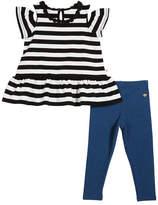 Kate Spade Striped Cold-Shoulder Top W/ Leggings, Size 2-6x