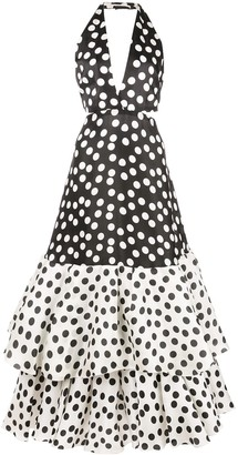 Carolina Herrera Polka Dot Flare Dress