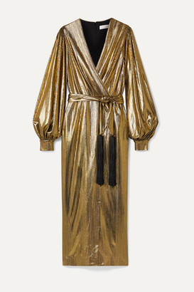 Borgo de Nor Belted Wrap-effect Lamé Midi Dress - Gold