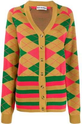 Molly Goddard longline intarsia knit cardigan