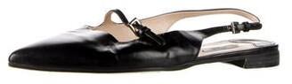 Prada Leather Slingback Flats Black