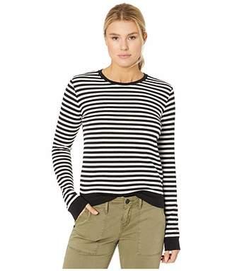 Lucky Brand Stripe Scoop Neck Pullover Sweatshirt