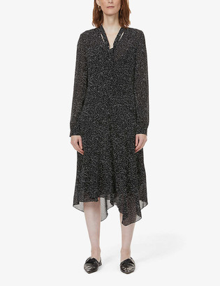 Theory Patterned silk-crepe midi dress
