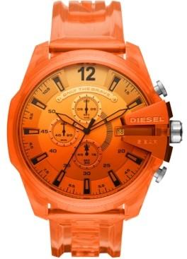 Diesel Men's Chronograph MegaChief Orange Transparent Polyurethane Strap Watch 51mm