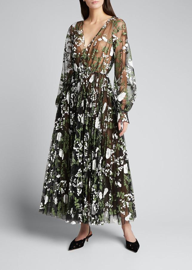 Oscar de la Renta Floral Embroidered Long-Sleeve Tea-Length Dress
