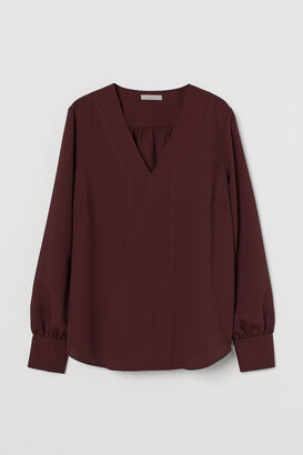 H&M V-neck Blouse - Red
