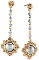 Carolee Gold-Tone Imitation Pearl and Pavé Drop Earrings