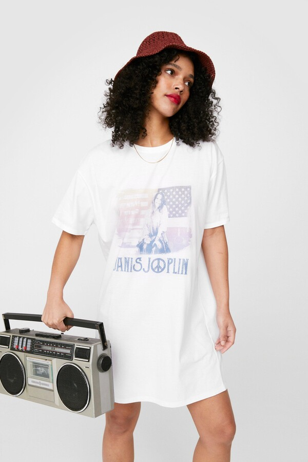 Thumbnail for your product : Nasty Gal Womens Janis Joplin Oversized Graphic Band T-Shirt Dress - White - S