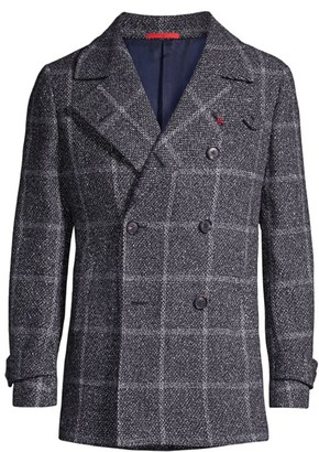 Isaia Windowpane Double-Breasted Cashmere Peacoat