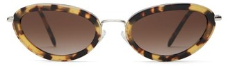 Miu Miu Delice Tortoiseshell Acetate Oval Sunglasses - Womens - Brown