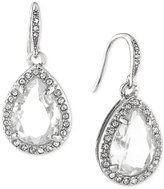 Carolee Silver-Tone Pavé Framed Teardrop Crystal Drop Earrings