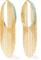 Noir Gold-tone stone hoop earrings