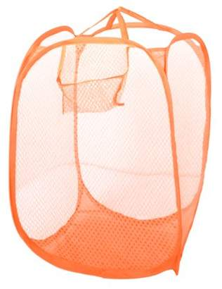 Unique Bargains Orange Nylon Meshy Foldable Tidy Clothes Storage Bag Laundry Basket