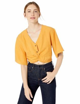 J.o.a. Women's Short Sleeve Cropped Twist Font Top