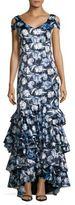 Kay Unger Cold-Shoulder Asymmetric Gown