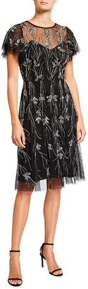 Aidan Mattox Beaded Tulle Flutter-Sleeve Illusion Dress
