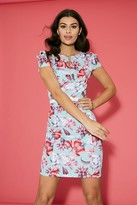 Paper Dolls Sylvie Pistachio Floral-Print Frill Sleeve Belted Bodycon Dress