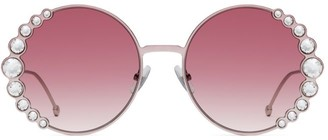 Fendi 58MM Oversized Round Swarovski Crystal Sunglasses