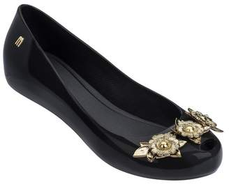Melissa Ultra Girl Flower Chrome Faux Leather Flat