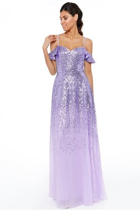 Goddiva Lavender Flutter Sleeve Sequin & Chiffon Maxi Dress