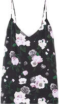 Equipment Layla Floral-print Washed-silk Camisole - Black