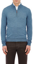 Piattelli MEN'S FINE-GAUGE MOCK TURTLENECK SWEATER-BLUE SIZE L