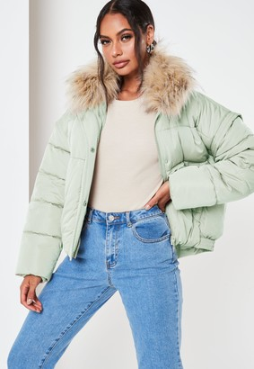 Missguided Mint Ultimate Faux Fur Puffer Jacket