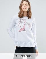 Y.A.S Tall Jappa Embroidered Peplum Hem Stripe Blouse